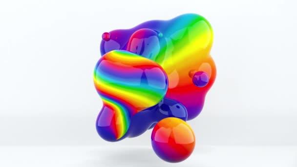 Abstrakte geometrische Kunst mit fließenden flüssigen Klecksen, computergeneriert. 3D-Darstellung Farbverlauf Metaballs