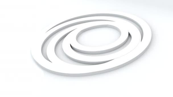 Az absztrakt gyűrűk 3D-s renderelése egymásban. Forgó hatású geometriai körök, számítógép generálva