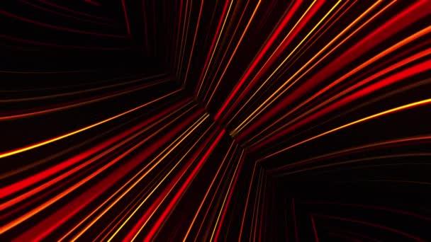Abstraktní neonová záře reflektorů, generovaná počítačem. 3D vykreslování abstraktní pozadí s barevnými paprsky