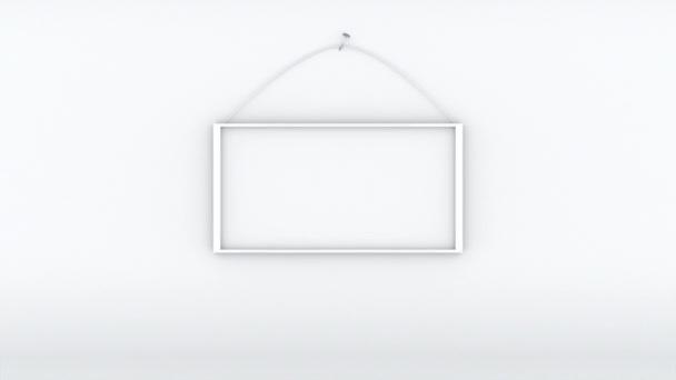 Počítač generoval bílou místnost s bílým okrajem. 3D vykreslování pozadí s prázdným rámem visícím na hřebíku.