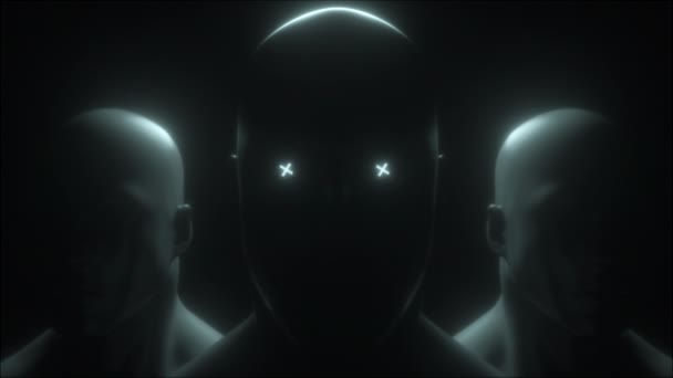 Three human head with neon in eyes, 3d rendering. Computer generated futuristic background.