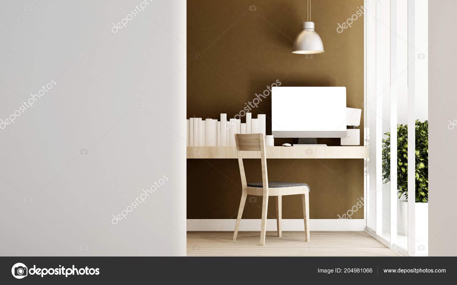 Werkplek brown wand huis appartement interieur design voor artwork