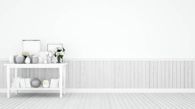 White empty room on white wood floor and decoration set on white tone - Room design on white tone and space for add artwork or message - 3D Illustration
