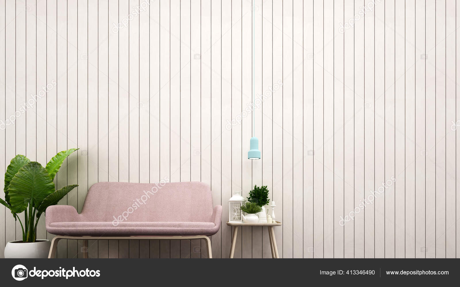 Living Room Decoration White Wood Wall Artwork Pink Sofa Decoration Stock Photo Image By C Pantowto Gmail Com 413346490