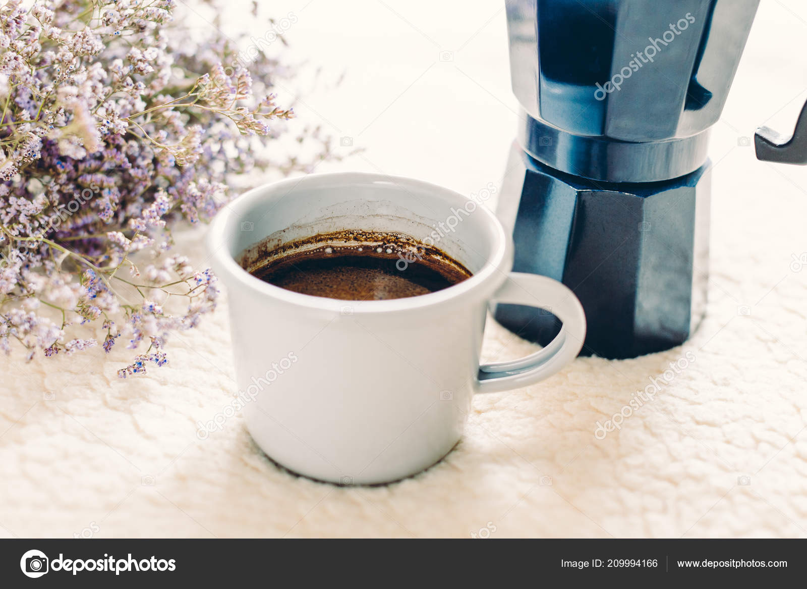 Coffee Mug Blue Geyser Pot White Cover Cosiness Stock Photo Kopi Wihte And On By Yakovlevadaria