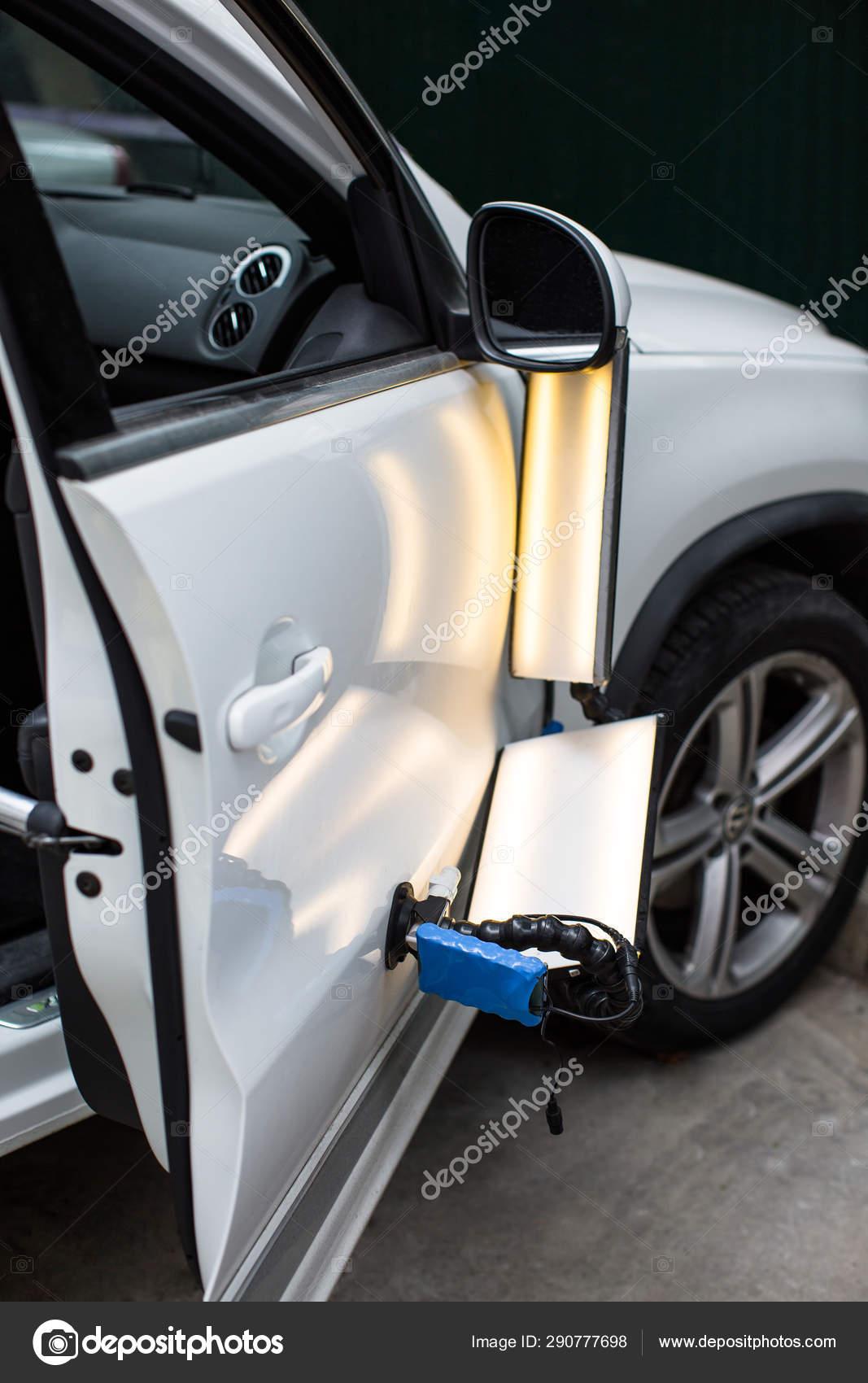 Paintless Dent Repair >> Repairing Car Dent Accident Paintless Dent Repair Stock