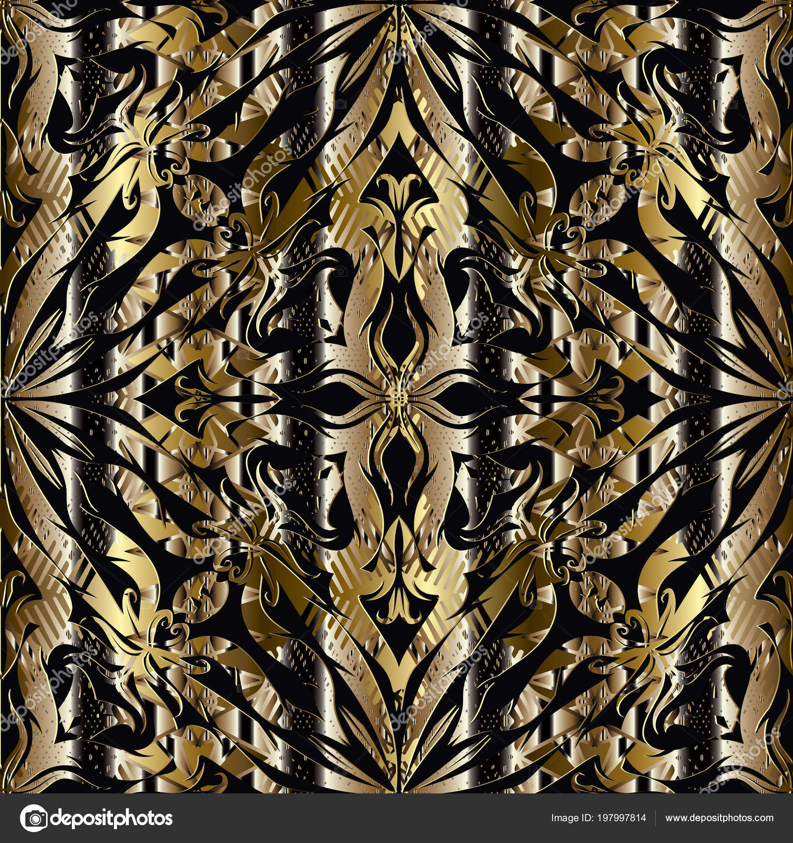 3D Abstract Floral Gold Black Seamless Pattern Striped Ornamental Vintage
