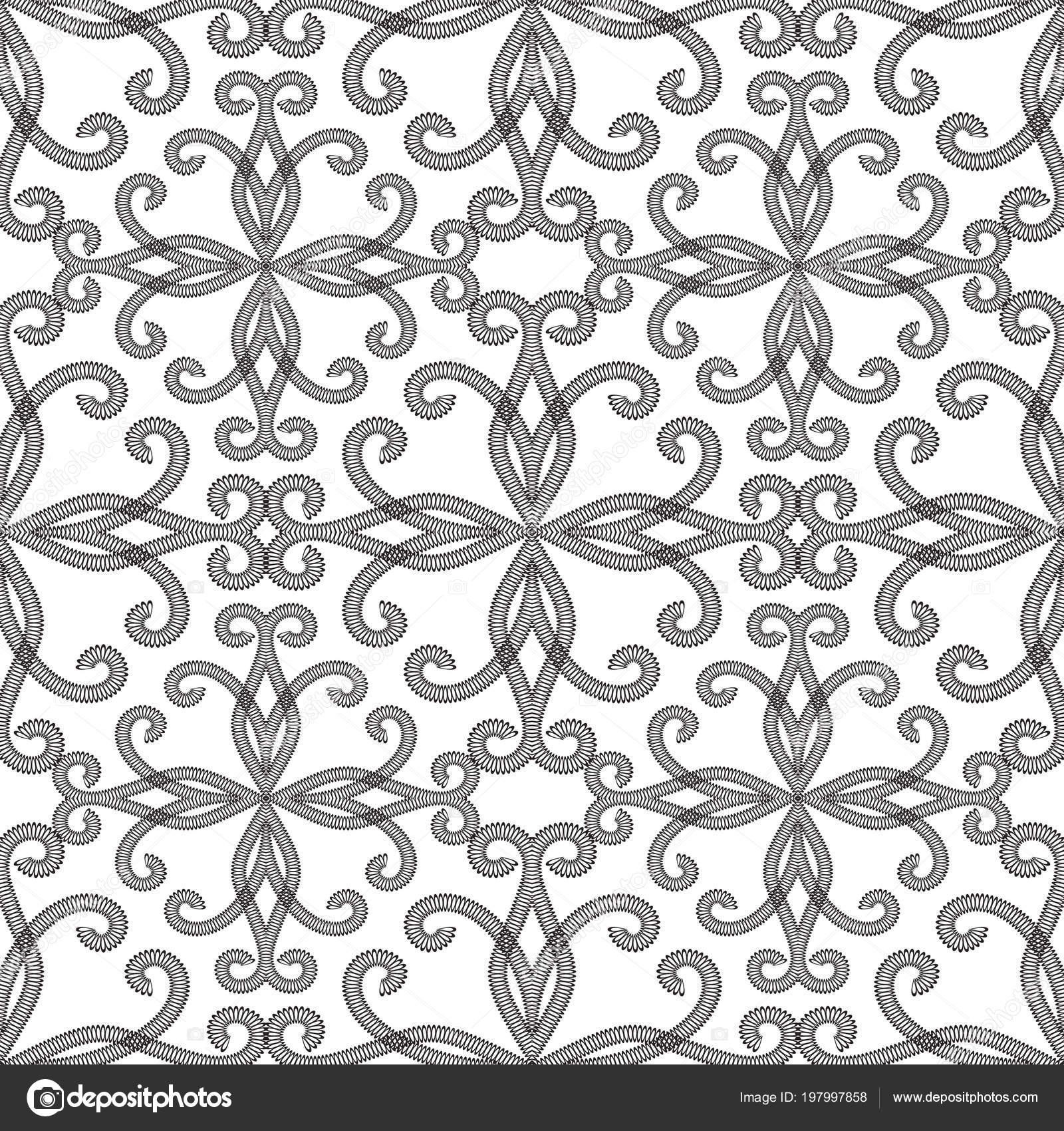 Blanco Negro Vintage Ornamentales Patrones Sin Fisuras Vector Patrón ...