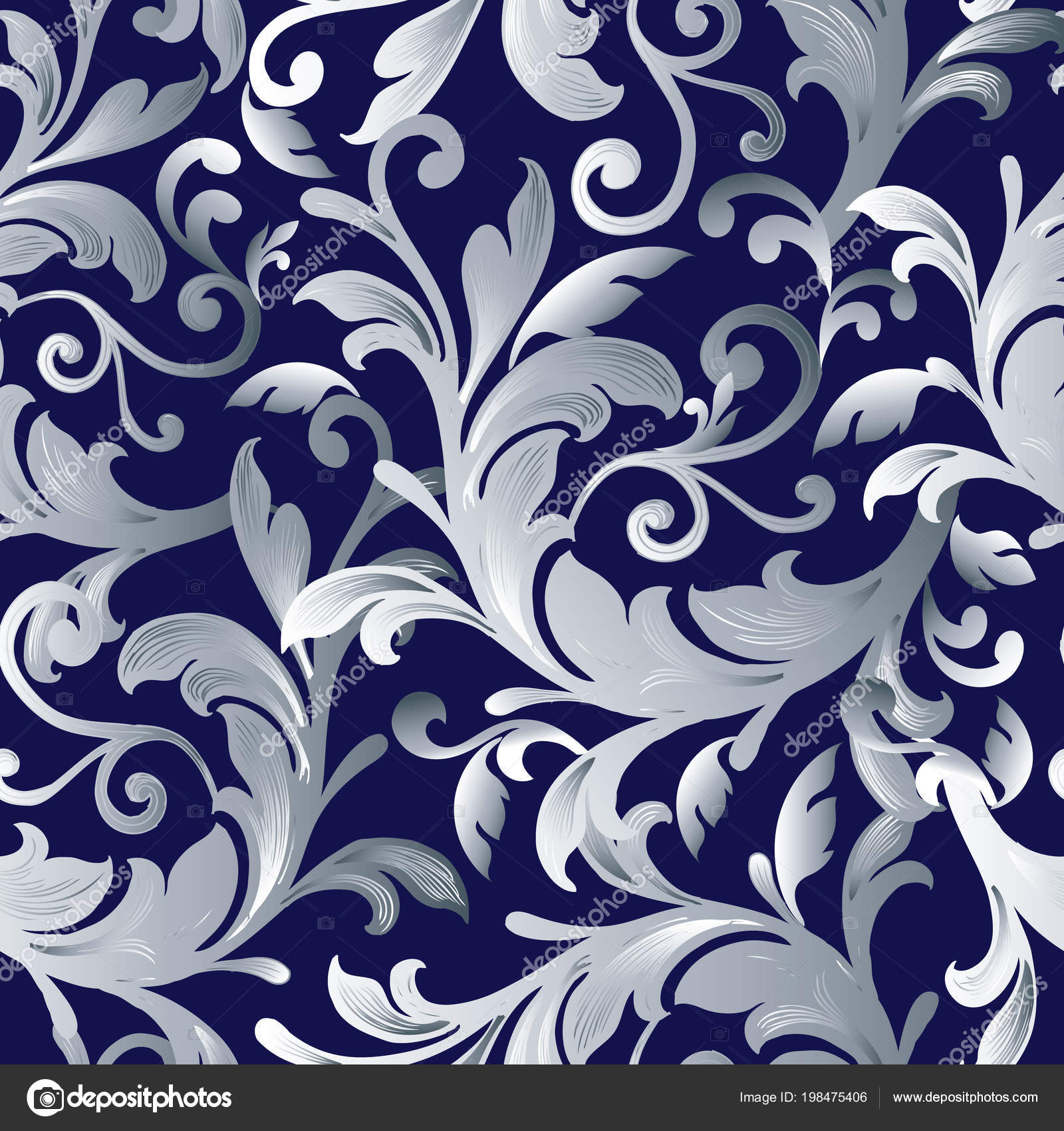 Scroll Pattern Wallpaper Baroque Seamless Pattern Blue