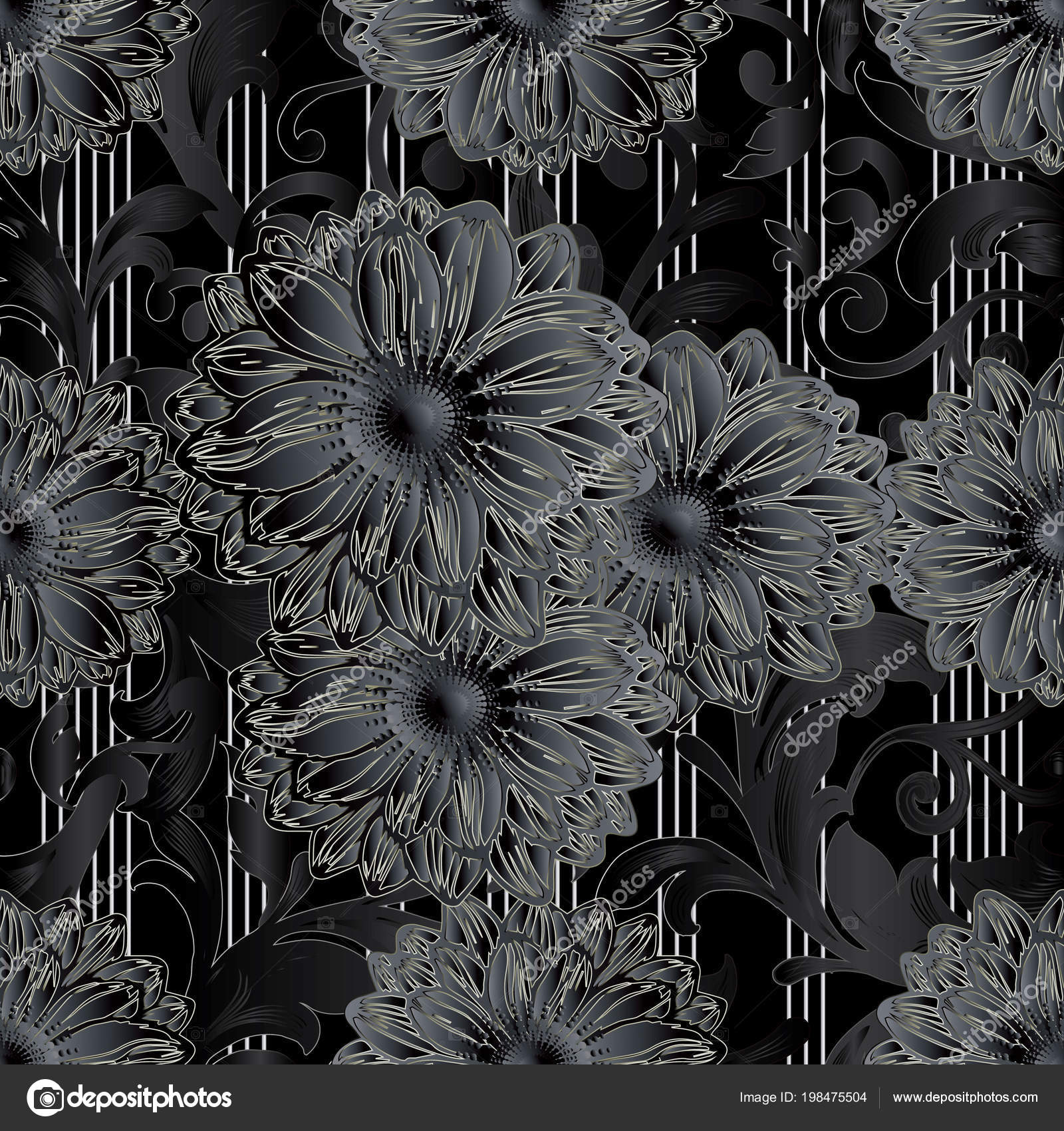Striped Background Wallpaper Illustration With 3D Black Flowers, Vertical White