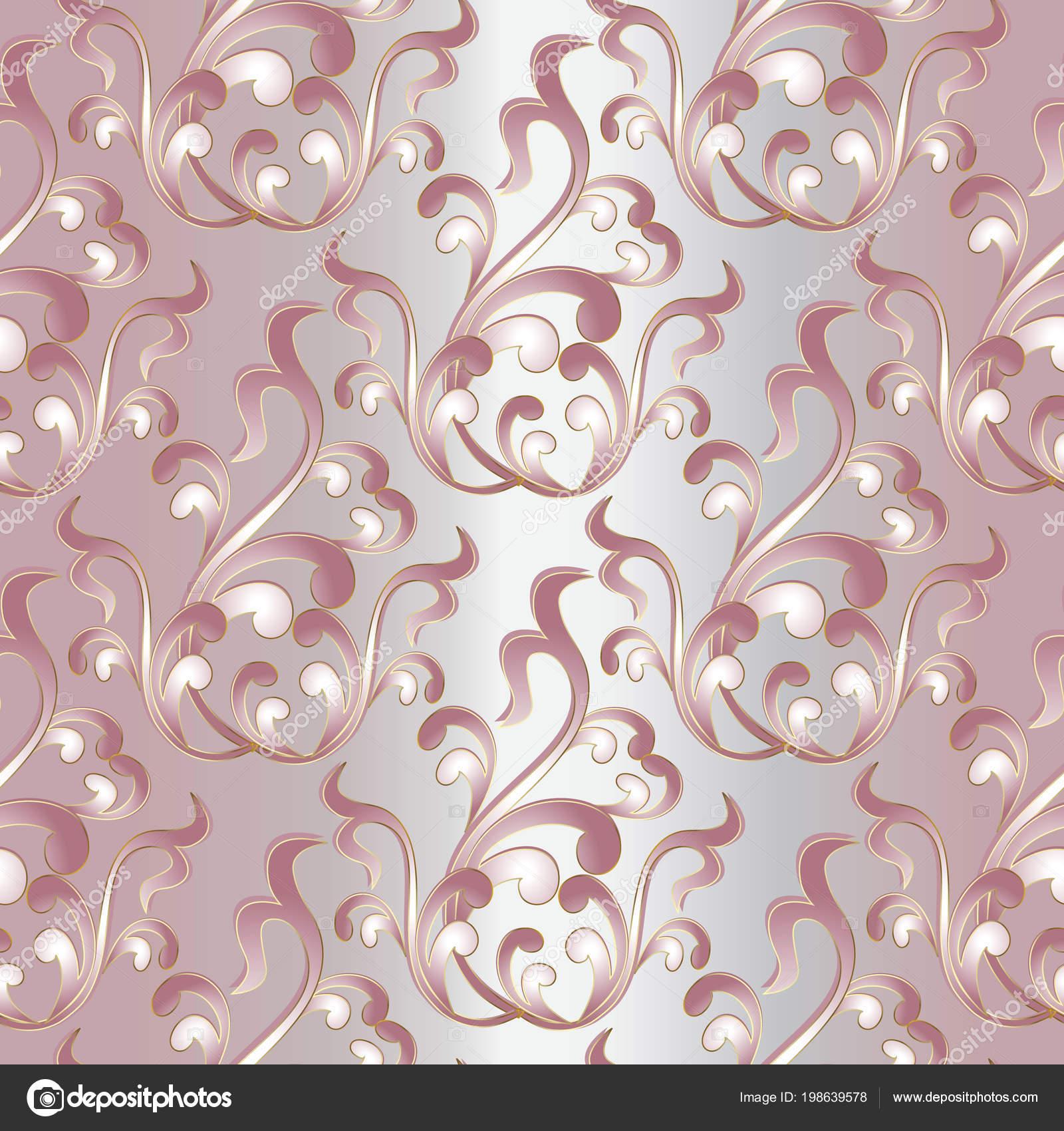 Baroque Damask Vintage Seamless Pattern Light Pink Floral Backg