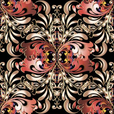 Russian floral 3d vector seamless pattern.