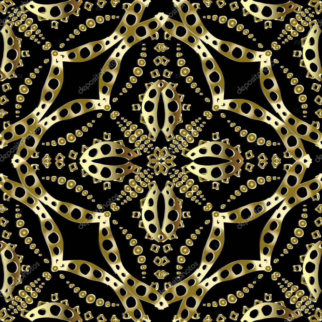 Gold floral vector seamless pattern.