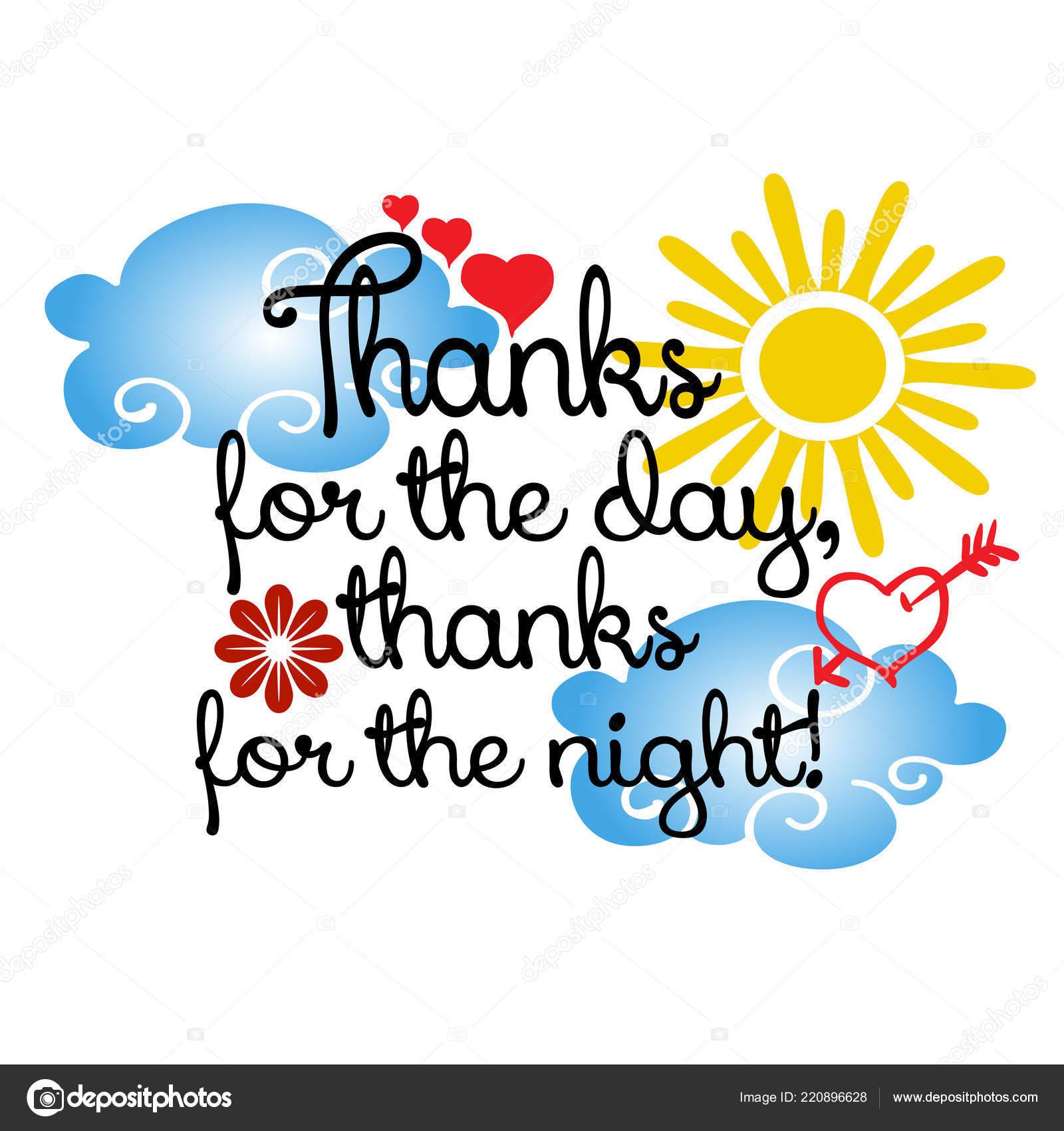 Gracias Por Dia Gracias Por Noche Frase Vector Texto Letras Vector