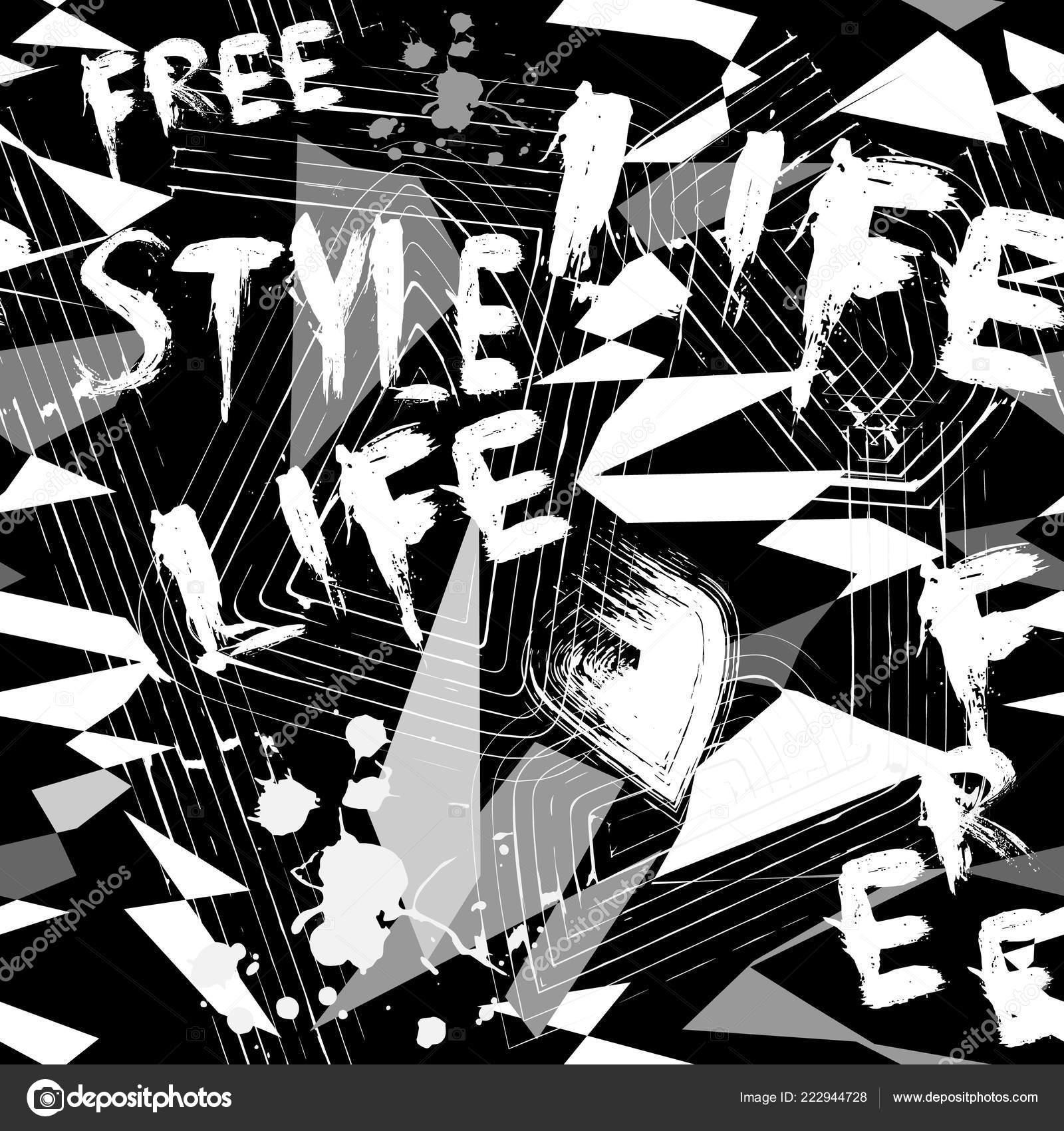Grunge Geometric Vector Black White Abstract Seamless