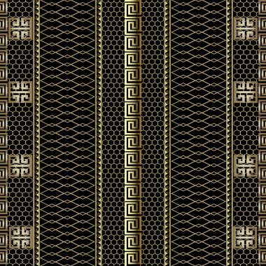 Gold striped 3d greek key meander borders seamless pattern. Grid lattice ornamental background. Lace textured ornament. Decorative repeat backdrop. Wave lines, stripes, shapes. Modern ornate design