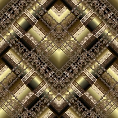 3d geometric zigzag greek vector seamless pattern. Gold ornament