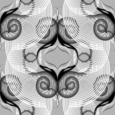 Floral vibrant halftone lines seamless pattern. Elegance ornamen