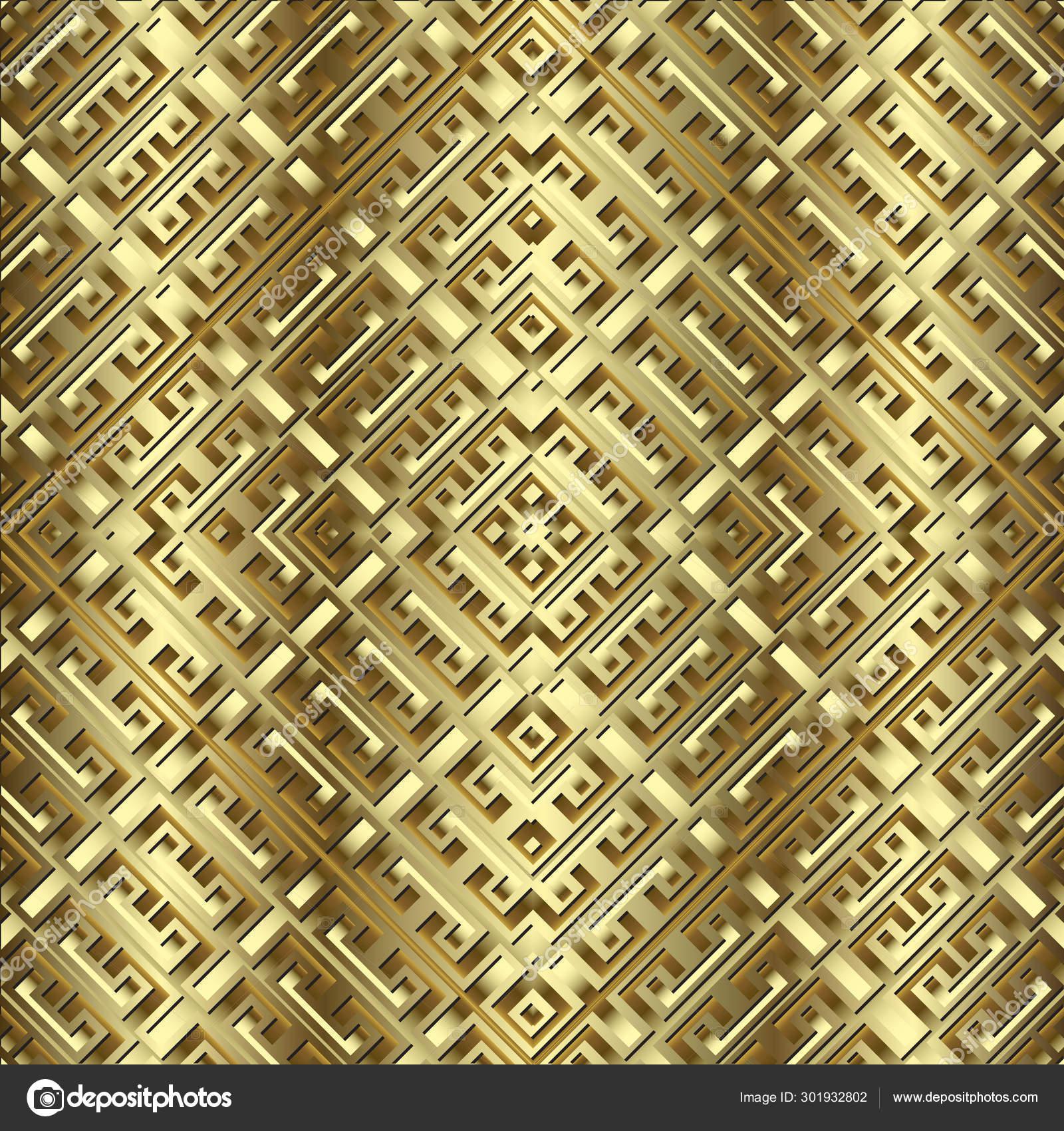 Textured Gold 3d Vector Seamless Pattern Geometric