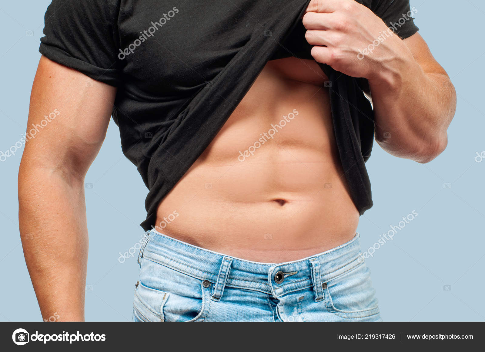 54776577b37 Diet Weight Loss Concept Muscular Man Perfect Body Blue Background ...