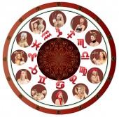 Všech dvanáct znamení zvěrokruhu. Astrologie a horoskop koncept.