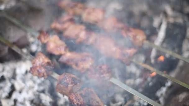 Na špízu grilovaný šat. Pečené hovězí maso při grilování. Tradiční východní pokrm ššlik. Příprava masného grilování na gril nad dřevěným uhlím