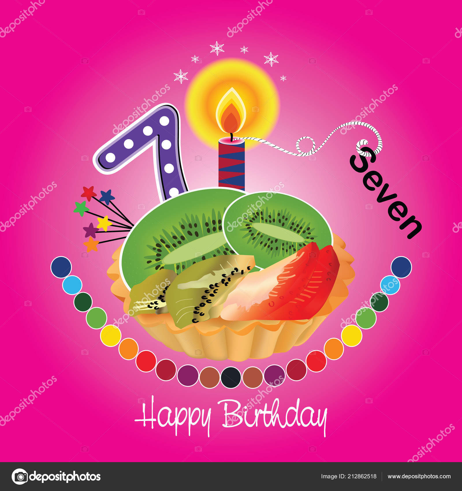 Vector Happy Birthday Card Cake Numbers Illustration Colorful Happy