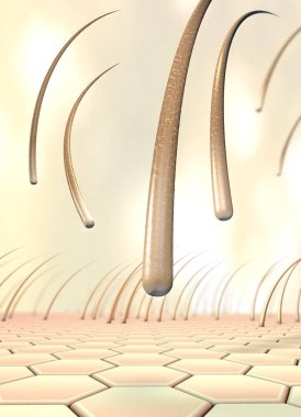 3d illustration of several falling hairs that detach from the skin called hair loss