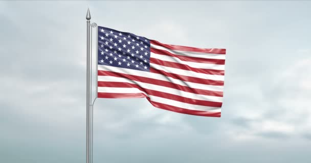 3d illustration of the state flag of the united states of america moving in the wind at the flagpole in front of a cloudy sky with its alpha channel