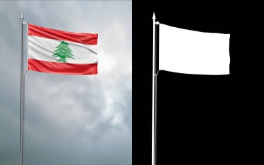 3d illustration of the state flag of the Lebanese Republic moving in the wind at the flagpole in front of a cloudy sky with its alpha channel