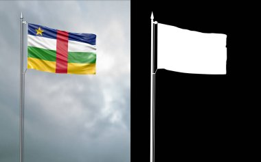 3d illustration of the state flag of the Central African Republic moving in the wind at the flagpole in front of a cloudy sky with its alpha channel