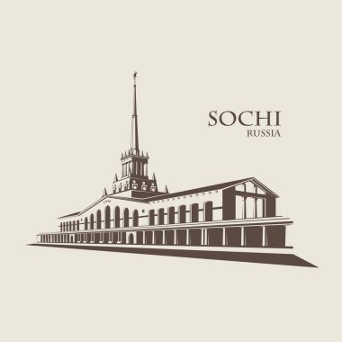 Russia, Sochi seaport. Vector architecture