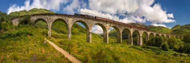 Steam train on old bridge, Highlands, Scotland