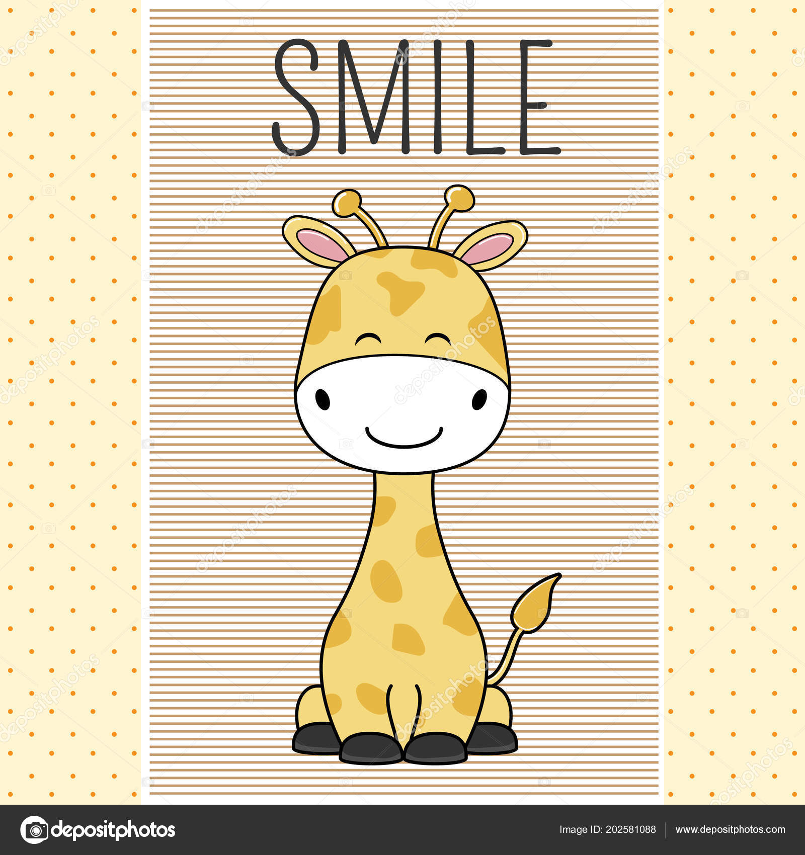 Hand Drawn Greeting Card Cute Funny Giraffe Isolated Objects White