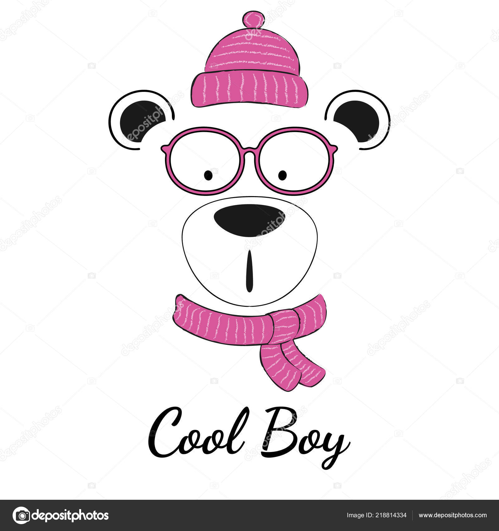 ed952f9165f Cool Teddy Bear Boy Glasses Scarf Winter Hat Isolated White — Stock Vector
