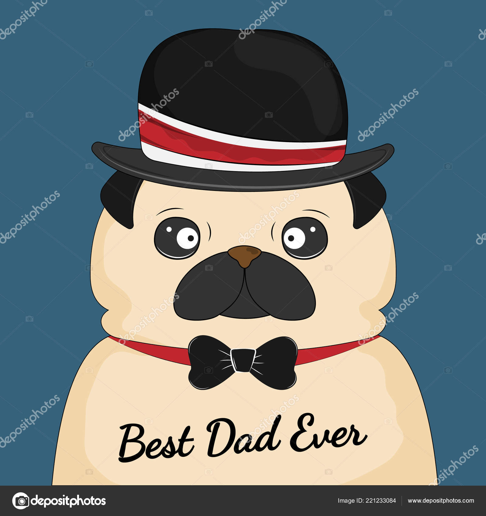 cf25803507cdf Pug Dog Hat Best Dad Ever Father Day Greeting Card — Stock Vector ...