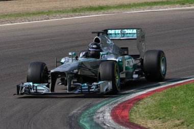 6 May 2018: Mercedes F1 Chief Designer Aldo Costa run with modern Mercedes F1 Car model W04 ex Nico Rosberg / Lewis Hamilton during Minardi Historic Day 2018 in Imola Circuit in Italy.