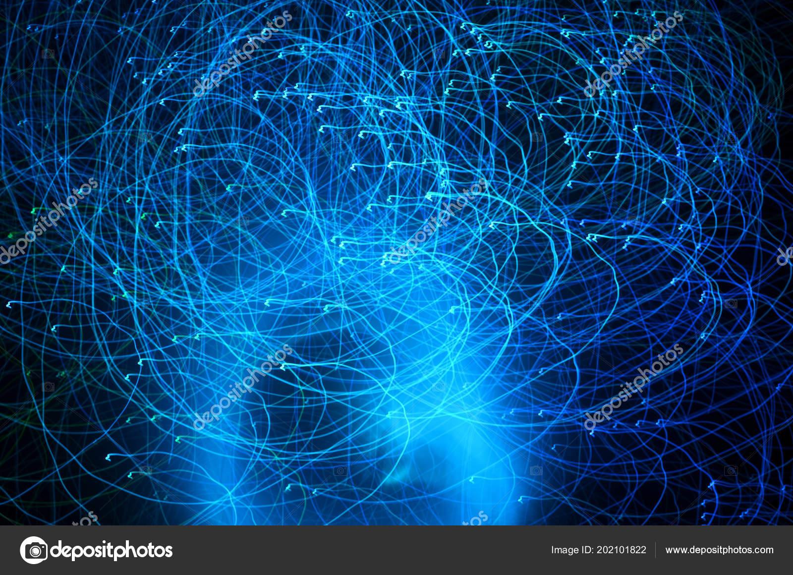 Abstracte blauwe kleur licht routes schot met lange blootstelling