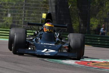 21 April 2018: Frieser, Keith CA run with historic 1973 F1 car Shadow DN1 during Motor Legend Festival 2018 at Imola Circuit in Italy.