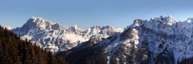 Civetta Group in the Italian Dolomites as seen from Passo Valles. Trentino Alto-Adige, Italy.