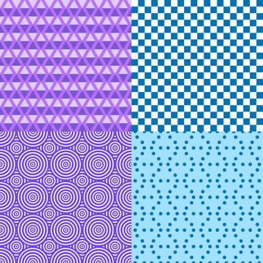 Set of seamless multicolored patterns. Checkered background. Tile wallpaper of the surface. Print for polygraphy, posters, t-shirts and textiles. Doodle for design