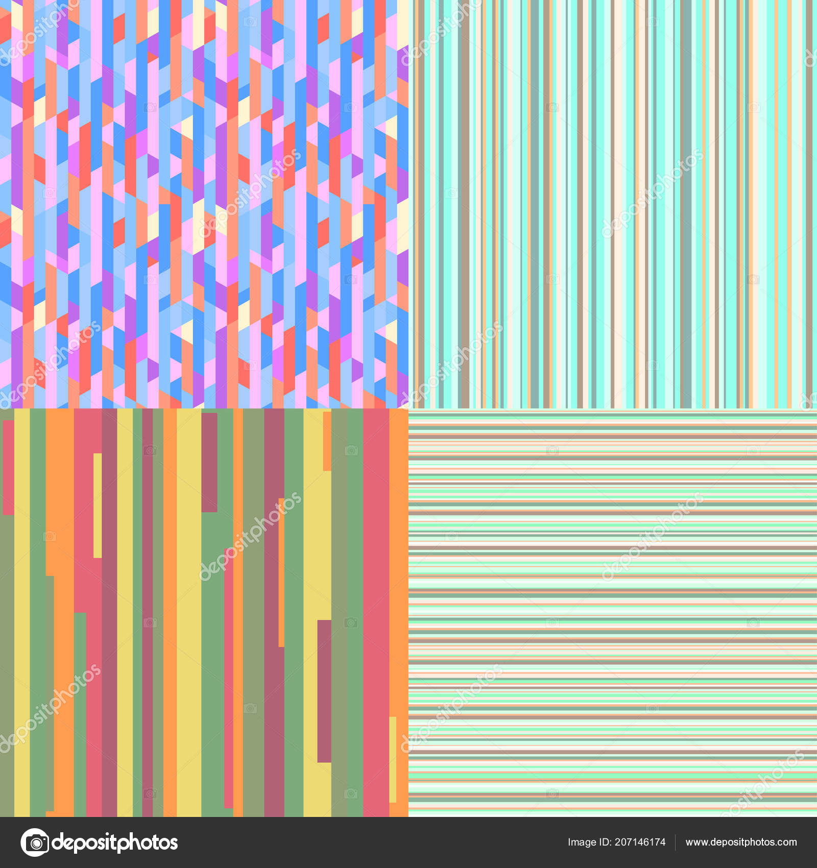 Bright Colors Wallpaper Set Seamless Colored Patterns
