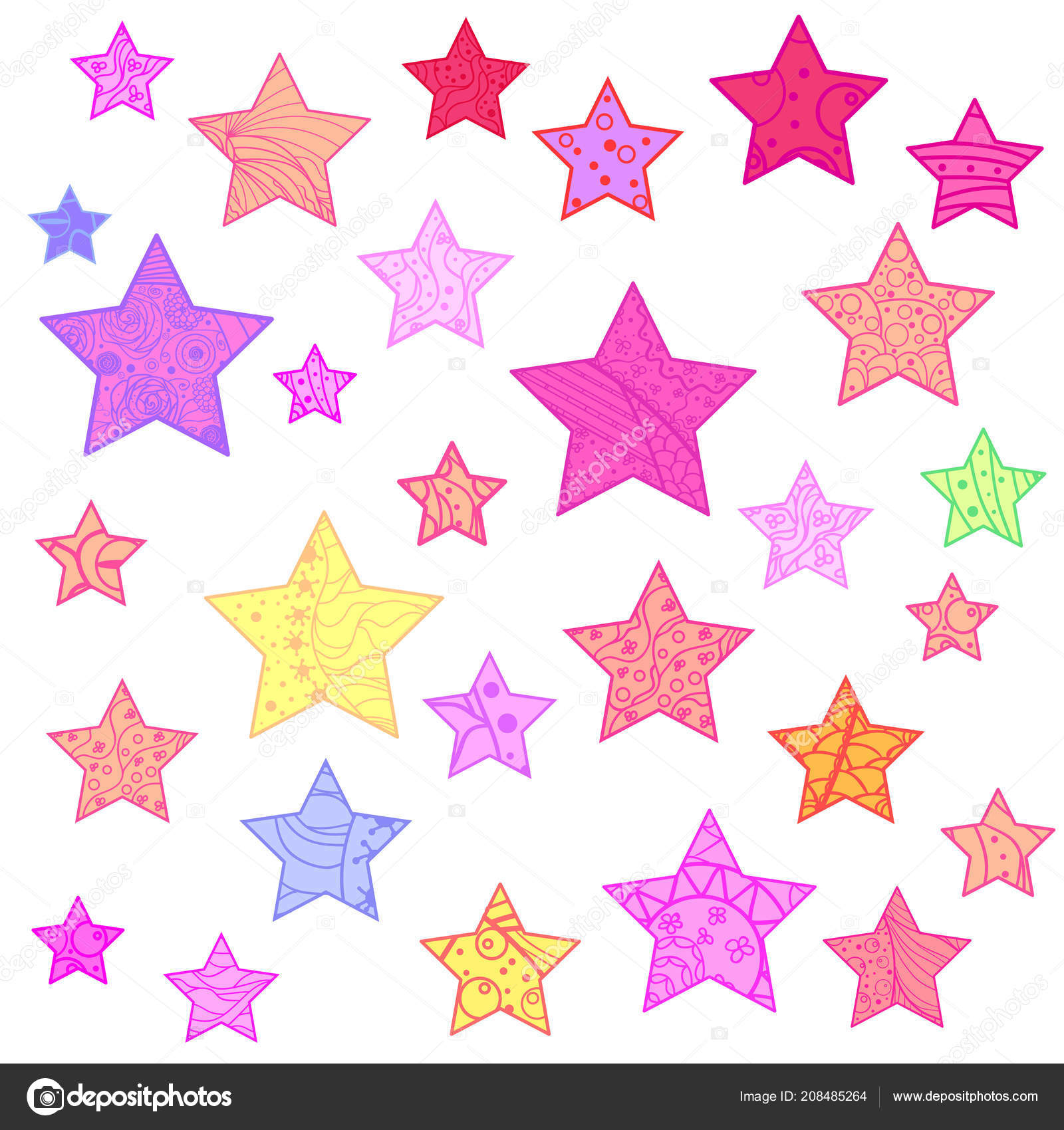 Pictures Printable Stars To Color Colorful Stars White Abstract Colored Patterns Isolated Background Design Spiritual Stock Vector C Mikabesfamilnaya 208485264