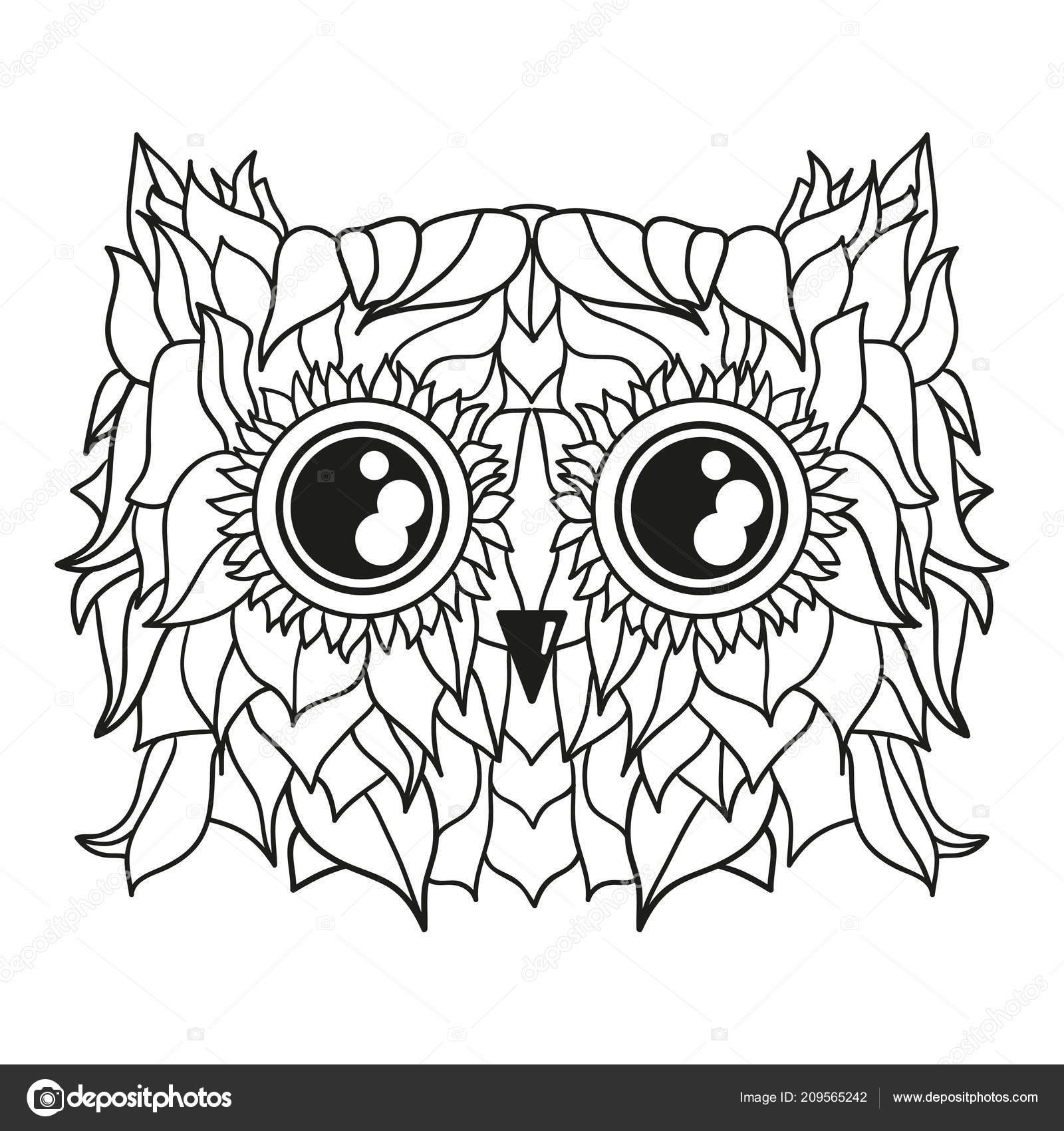 Head Owl Design Zentangle Hand Drawn Bird Abstract Patterns