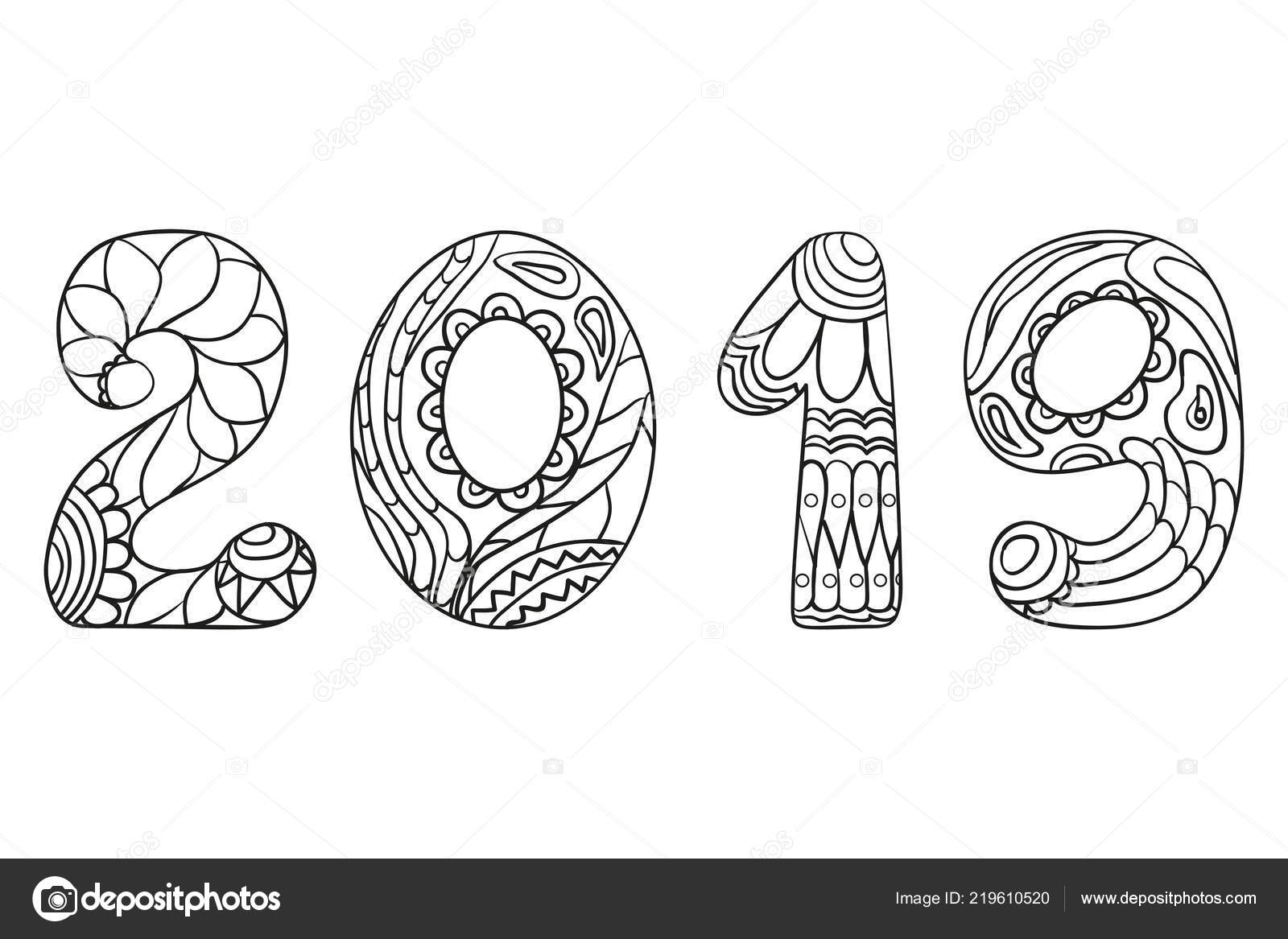 happy new year 2019 hand drawn numbers abstract patterns isolation stock vector