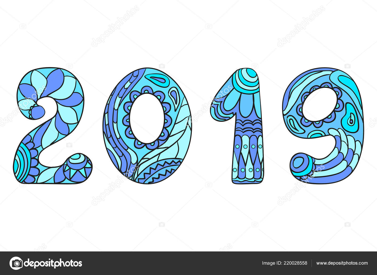 happy new year 2019 hand drawn numbers with abstract patterns on isolation background design for spiritual relaxation for adults line art