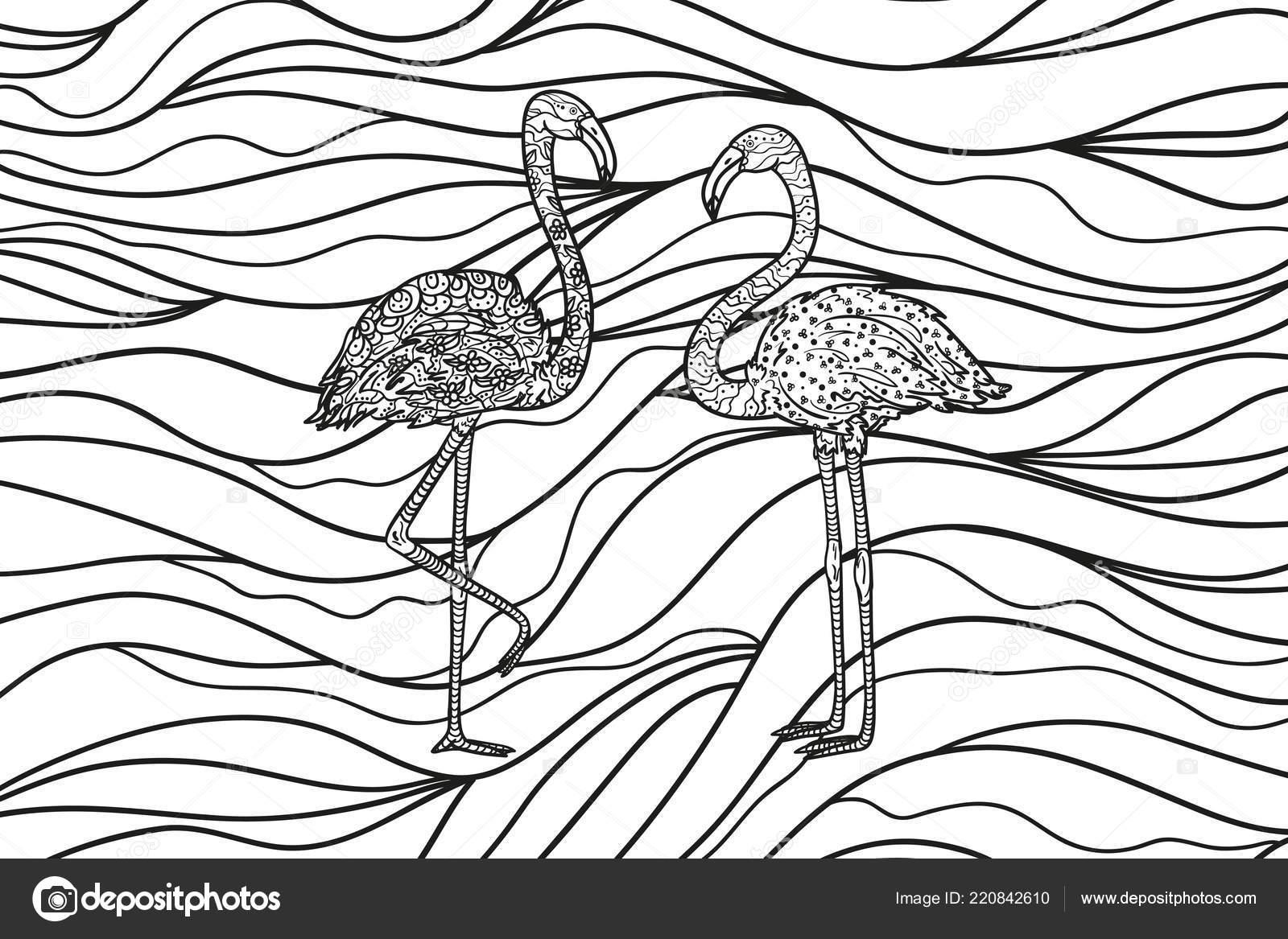 Flamingos Wavy Wallpaper Zentangle