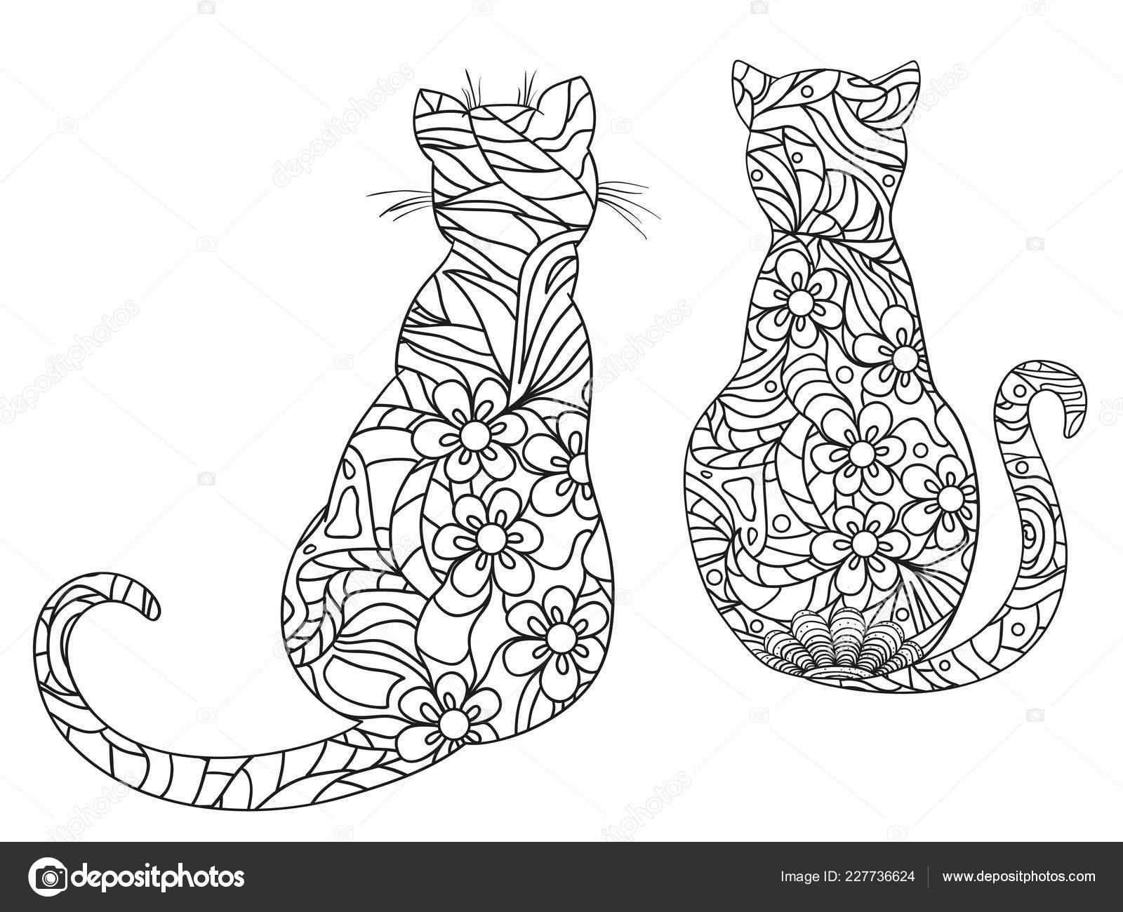 Katzen Auf Weiß Zentangle Handgezeichnete Tiere Mit