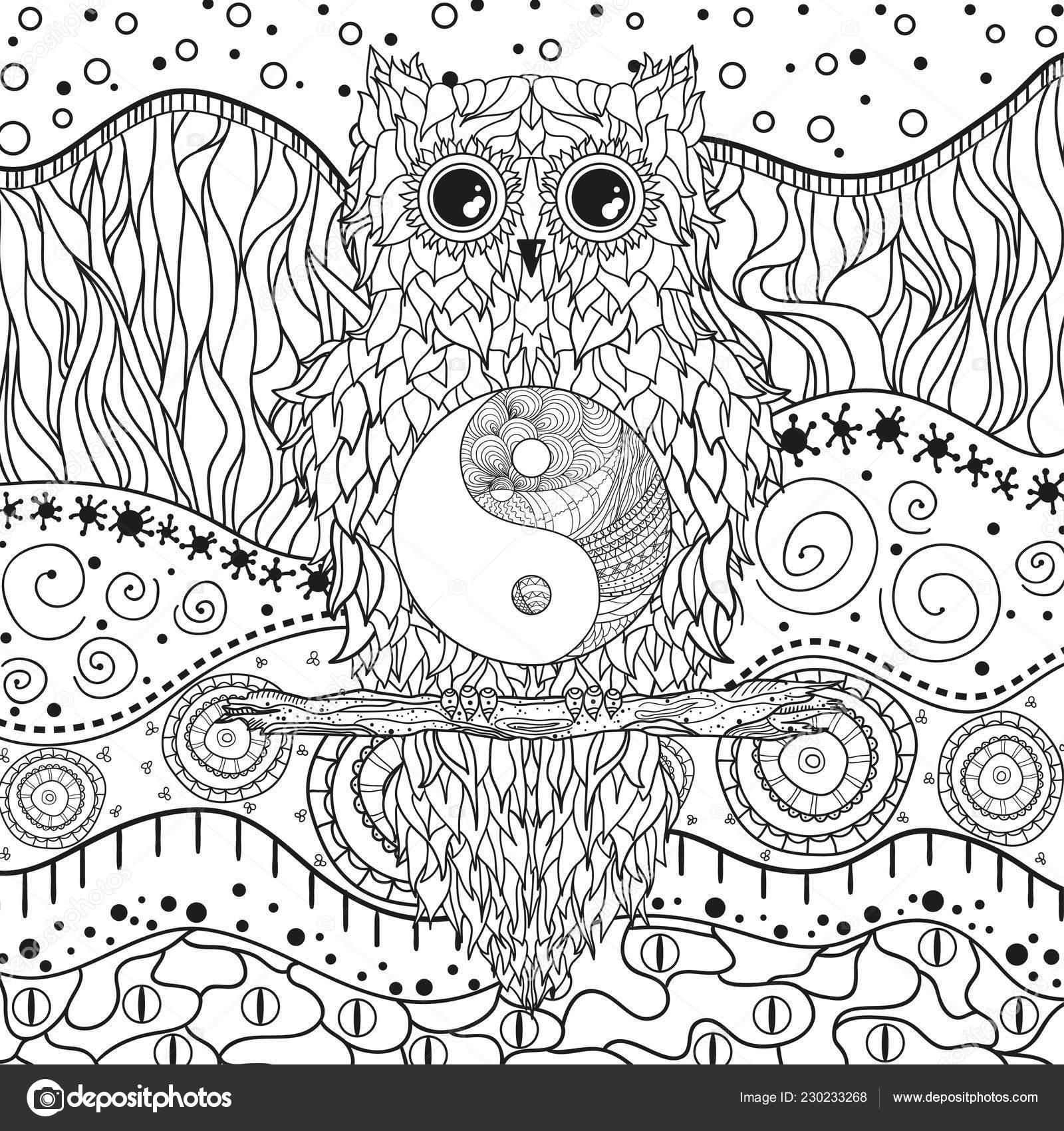 Mandala Con Buho Blanco Aislado Zentangle Mano Dibuja