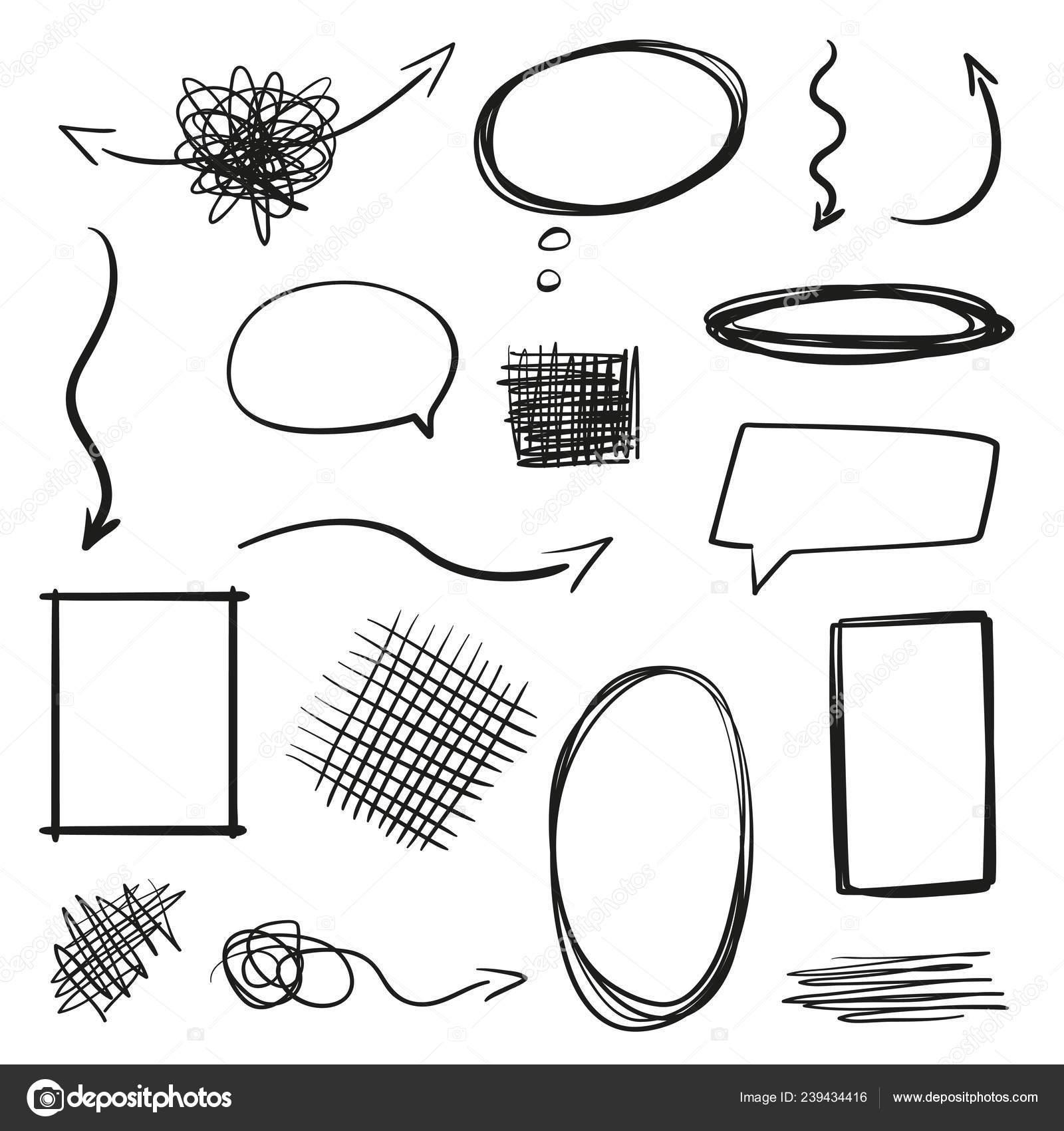 Elementi Infographic Sfondo Isolamento Cornici Disegnate Mano Frecce ...